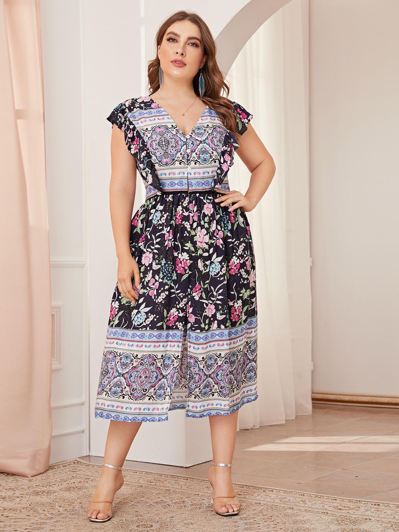 Фото - Платье размера плюс с цветочным принтом и разрезом от SheIn цвет многихцветные