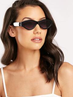Acetate Rim Thin Oval Sunglasses