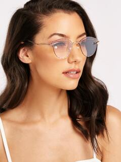 Wired Frame Pearl Detail Gradient Lens Sunglasses