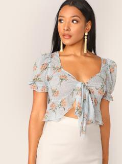Tie Front Ruffle Hem Floral Print Blouse