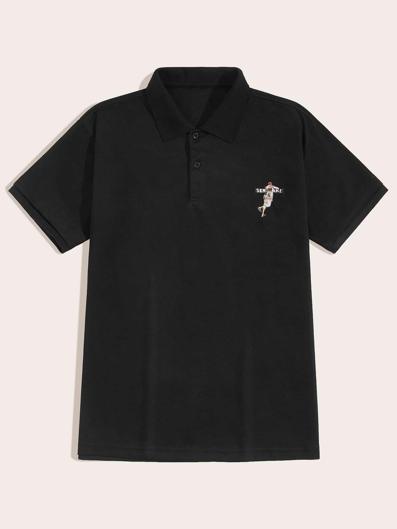 Фото - Мужская рубашка-поло с графическим принтом от SheIn черного цвета