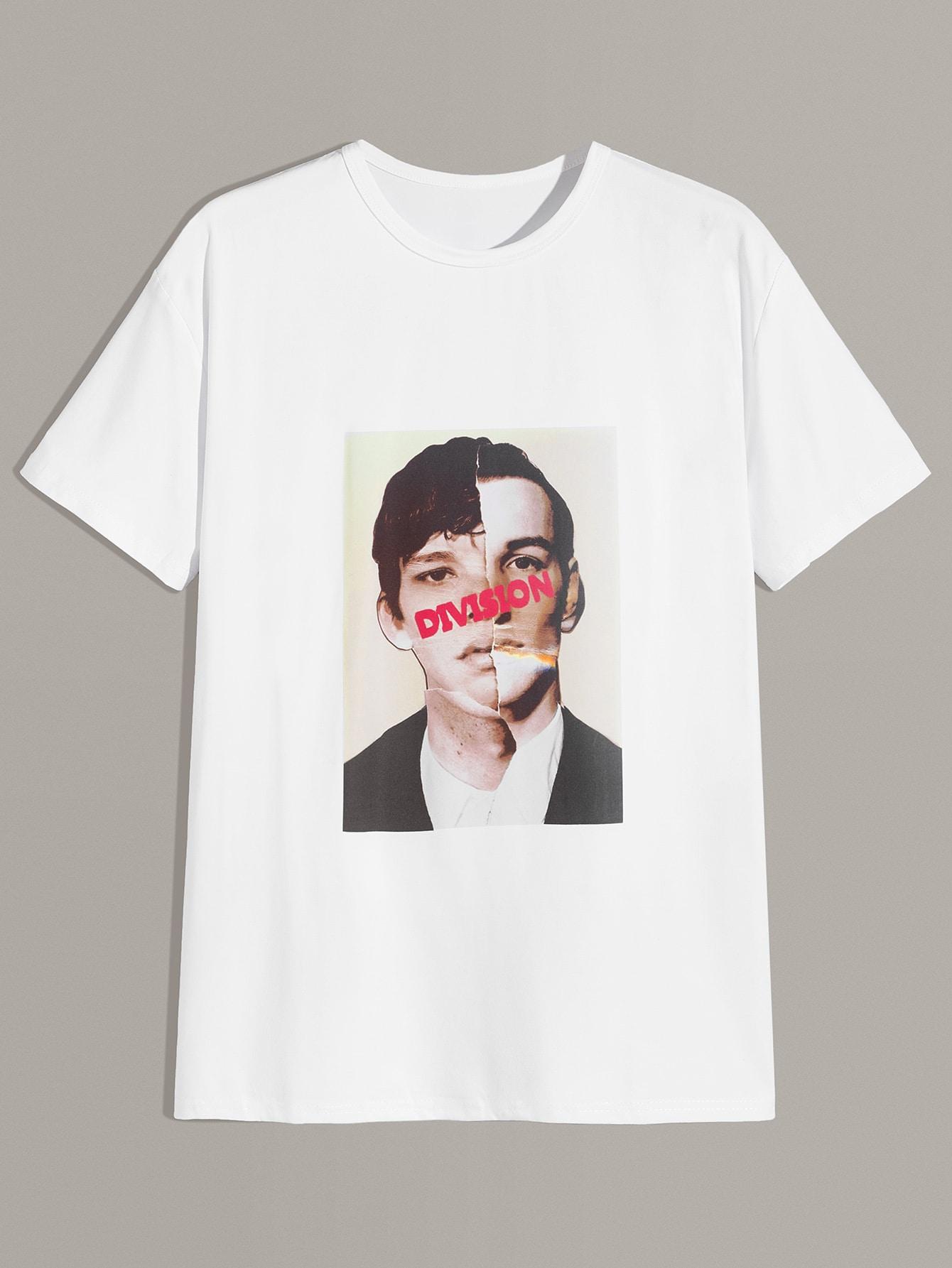 Фото - Мужская футболка с графическим принтом от SheIn белого цвета