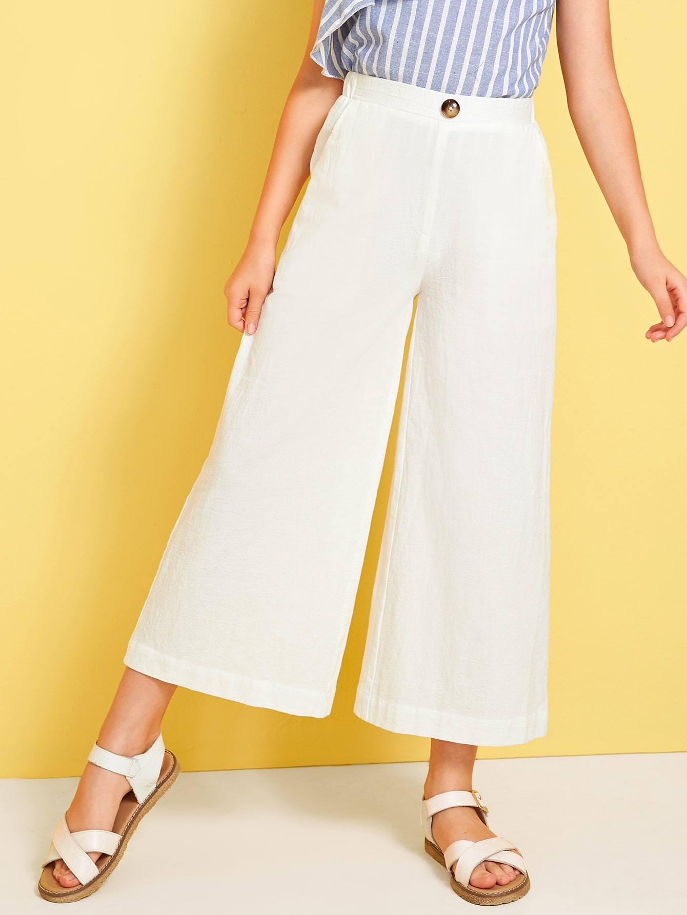 Girls Solid Buttoned Detail Wide Leg Pants