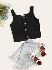 Button | Front | Tank | Girl | Top