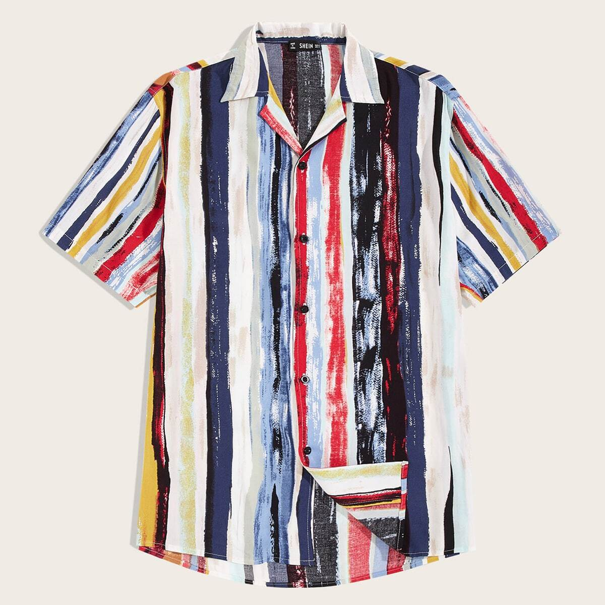 Veel kleurig Casual Overhemden voor heren Voorpand met Knoopjes