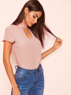 Choker Neck Frill Trim Top