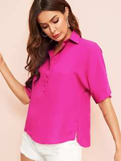 Buttoned Half Placket Split Side Top