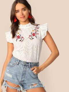 Ruffle Trim Embroidered Floral Schiffy Top