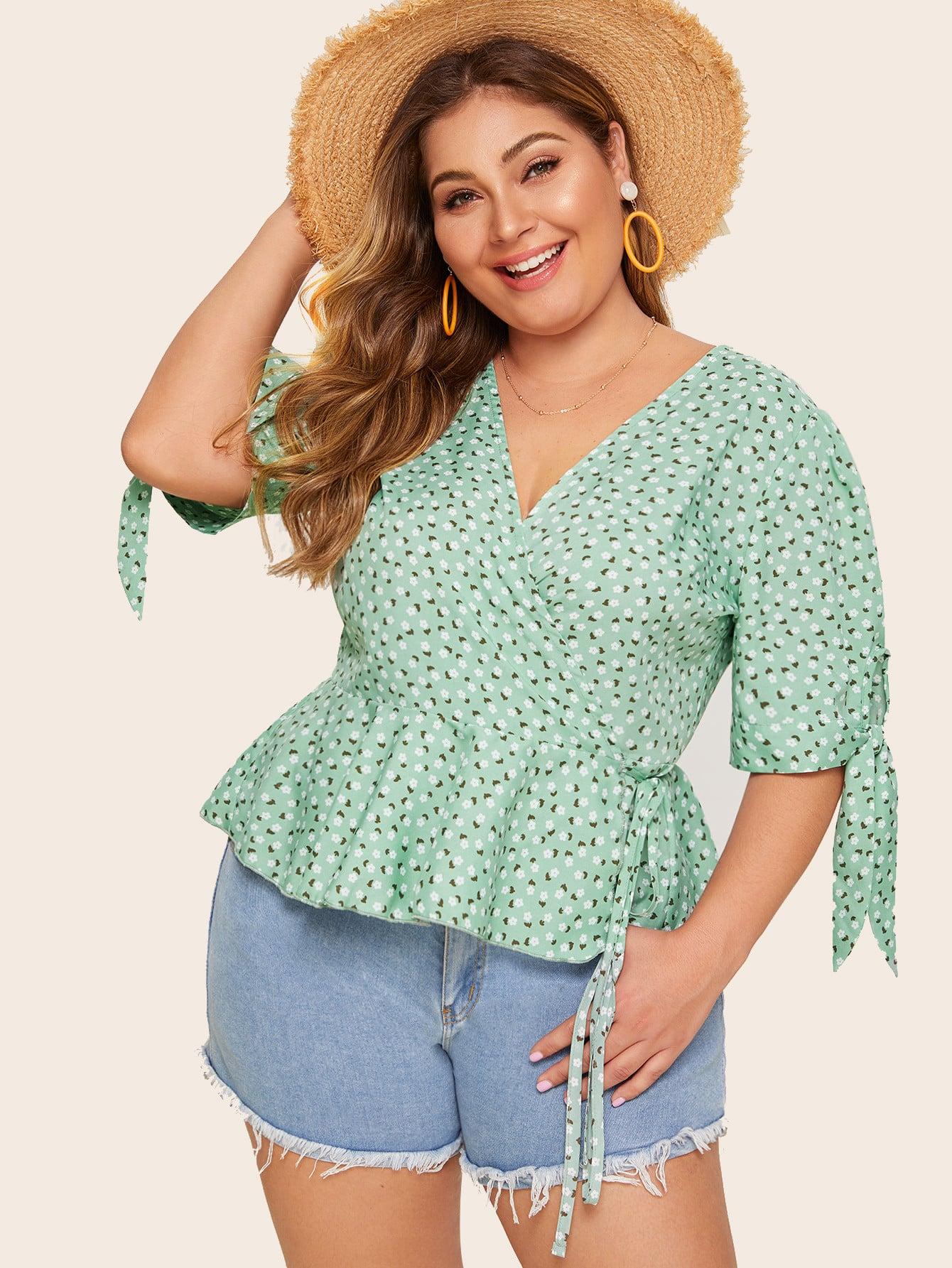 Фото - Цветочная блуза размера плюс с узлом от SheIn цвет зелёные