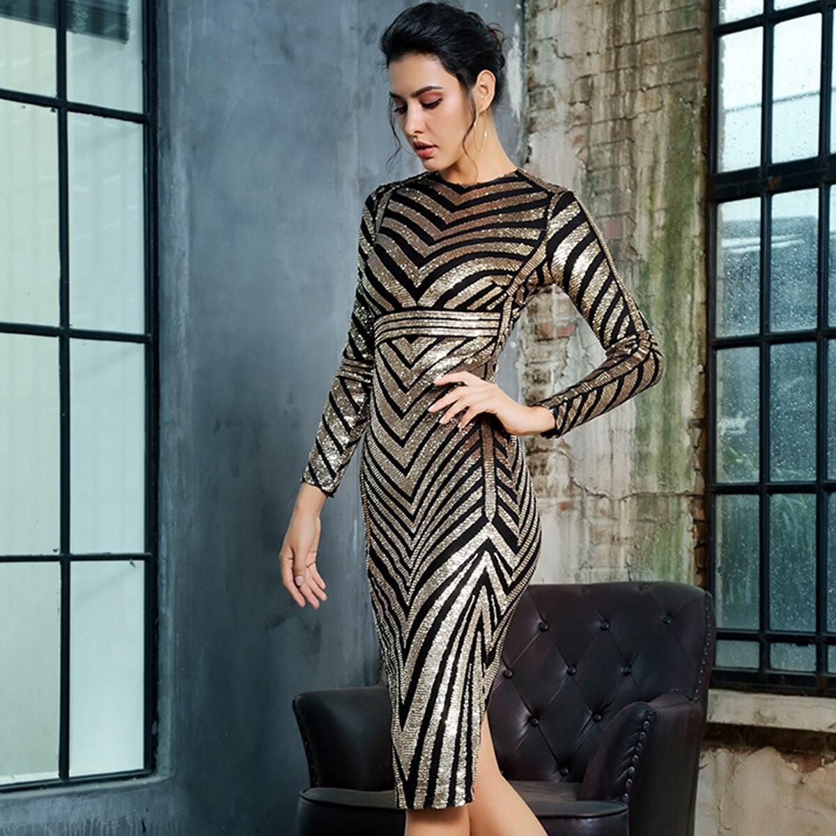 Платье-футляр с блестками и разрезом Image
