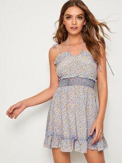 Knot Shoulder Shirred Waist Ruffle Trim Dress