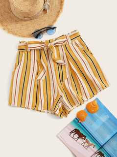 Striped Print Slant Pocket Belted Shorts