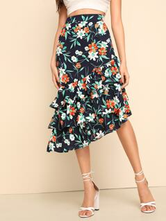 Floral Print Asymmetrical Layered Ruffle Skirt