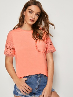 Frilled Pocket Lace Sleeve T-shirt