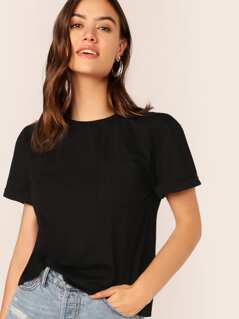 Pocket Patched Rolled Up Cuff Sleeve Top