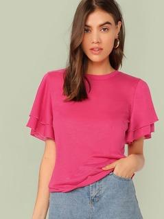 Neon Pink Flutter Sleeve Top