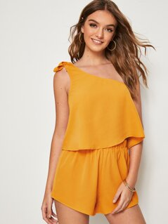 Self Tie One Shoulder Top & Shorts Set
