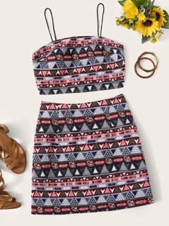 Aztec Print Cami Top and High Waist Skirt Set