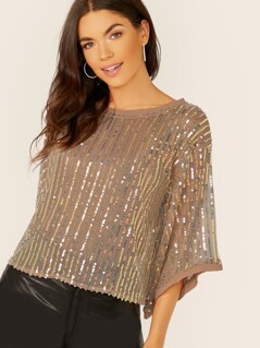 Sequin Stripe Mesh Flared Sleeve Top