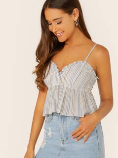 Ruffle Trim Peplum Hem Stripe Crop Tank Top