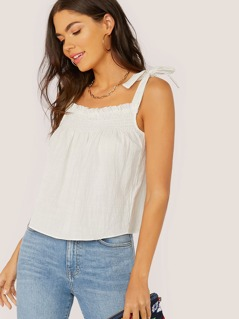 Tie Straps Smocked Flared Tank Top