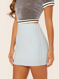 Kangaroo Pocket Rhinestone Stripe Mini Skirt