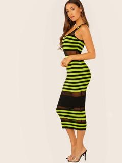Mesh Panel Stripe Colorblock Ribbed Midi Dress