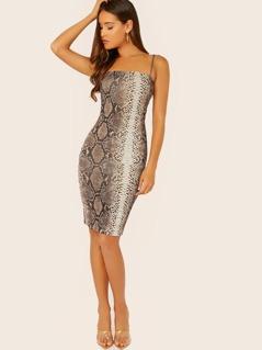 Snake Print Sleeveless Jersey Knit Bodycon Dress