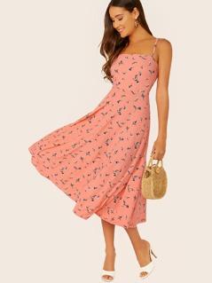 Floral Print Sleeveless Flared Midi Dress