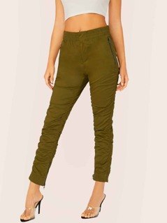 Elastic Waist Zip Pockets Ruched Scrunched Pants