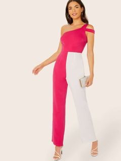 One Shoulder Two Tone Colorblock Jumpsuit