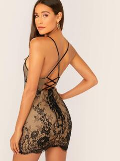Lace Up Back Sleeveless Lace Mini Dress