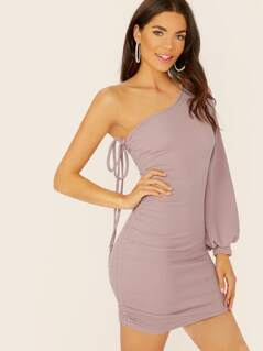 Bishop Sleeve One Shoulder Ruched Side Mini Dress