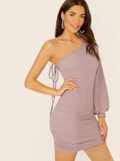 Bishop Sleeve One Shoulder Ruched Side Mini Dress