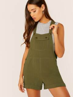 Front Chest Pocket Sleeveless Romper