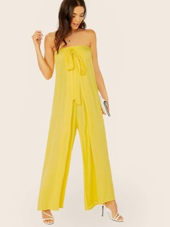 Tie Detail Strapless Jumpsuit