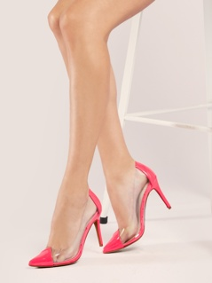 Clear Sides Pointed Toe Patent Neon Pumps