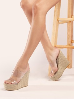 Double Clear Band Jute Trim Platform Wedges