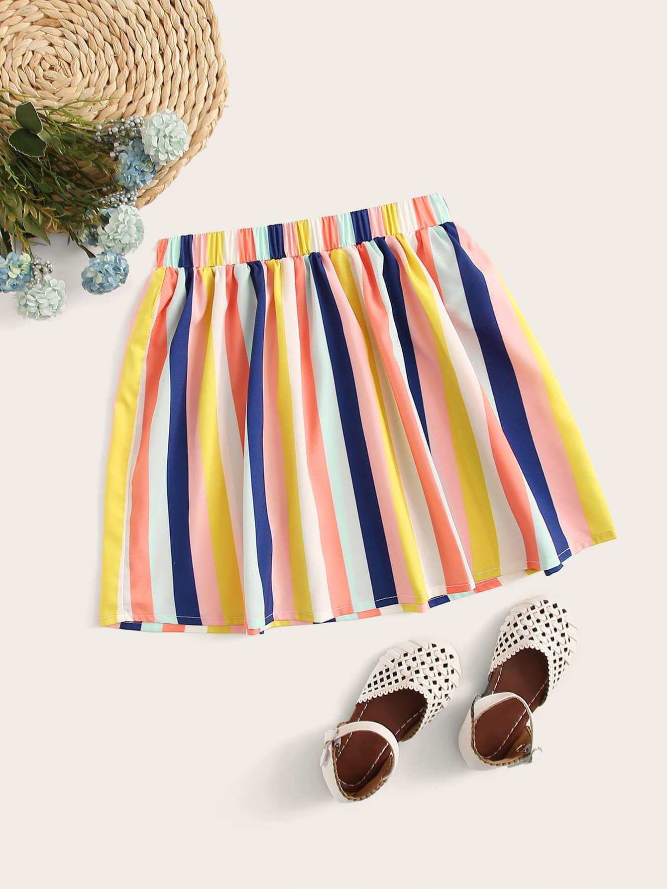 Фото - Разноцветная полосатая юбка с эластичной талией от SheIn цвет многоцветный