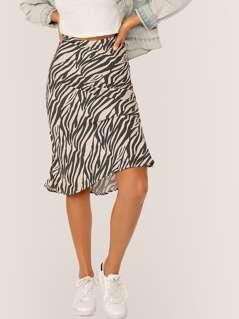 Elastic Waist Flared Zebra Print Midi Skirt