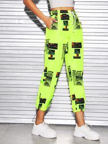 Drawstring   Neon   Pant