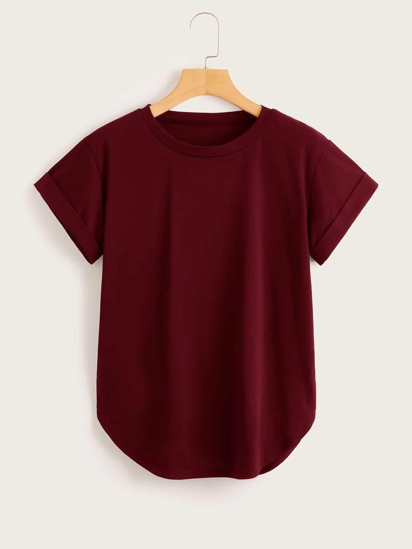 Фото - Однотонная футболка с изогнутым краем от SheIn бордового цвета