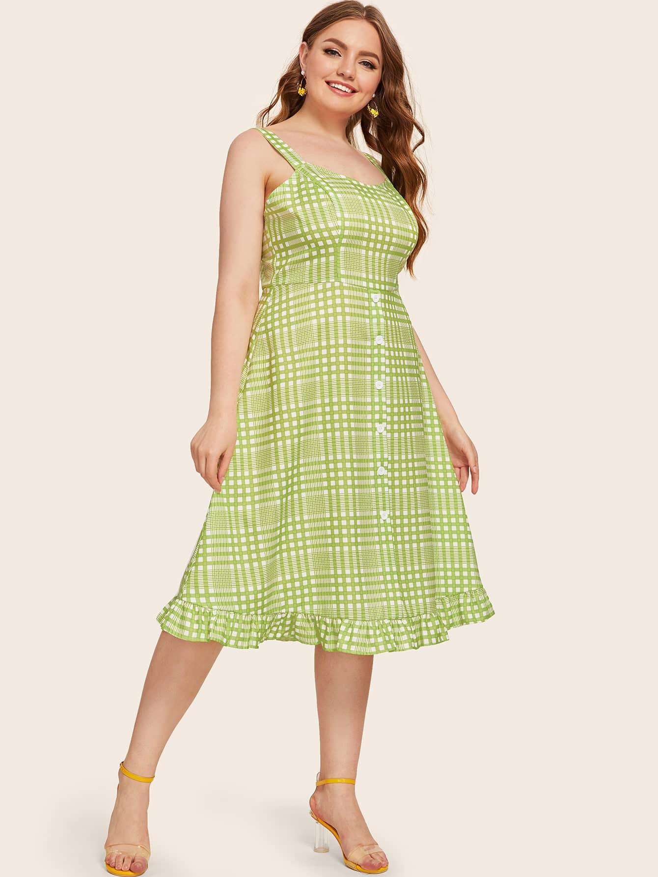 Фото - Платье в клетку размера плюс с пуговицами от SheIn цвет зелёные