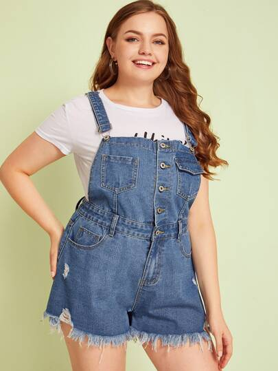 SheIn / Plus Button Front Pocket Raw Hem Dungaree Shorts