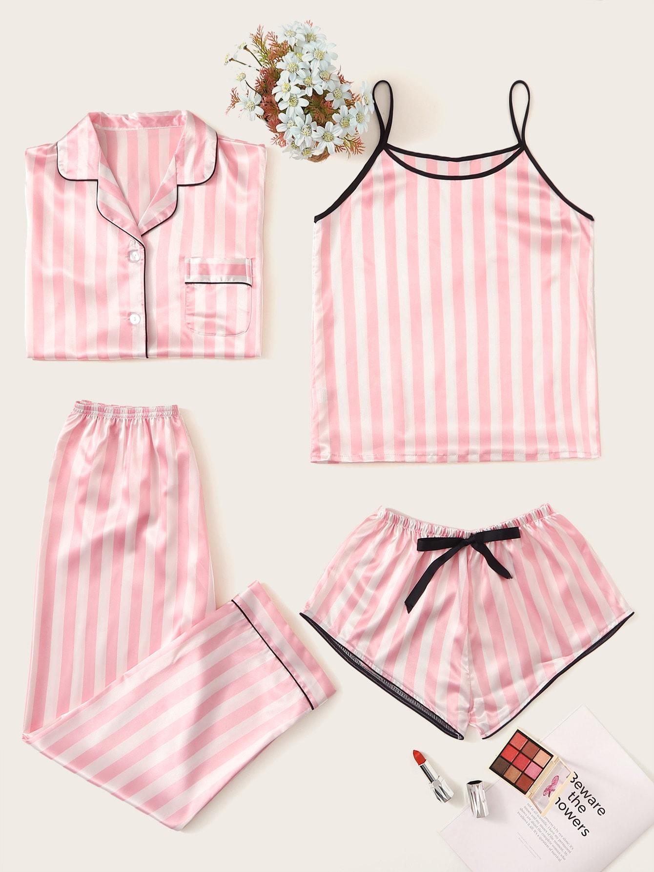 Фото - Атласная пижама в полоску 4шт от SheIn цвет розовые
