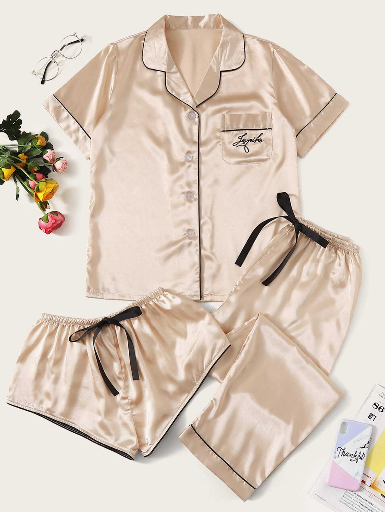 Фото - Атласная пижама с текстовой вышивкой 3шт от SheIn цвет золотые