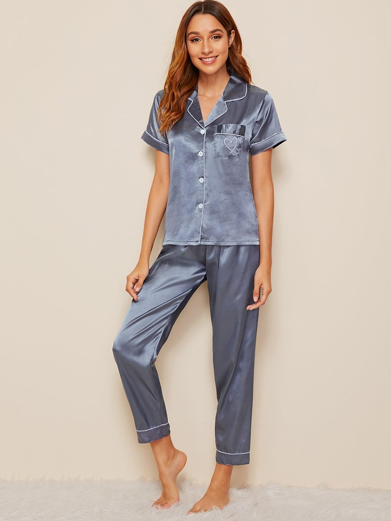 Фото - Атласная пижама с пуговицами и вышивкой от SheIn цвет синие