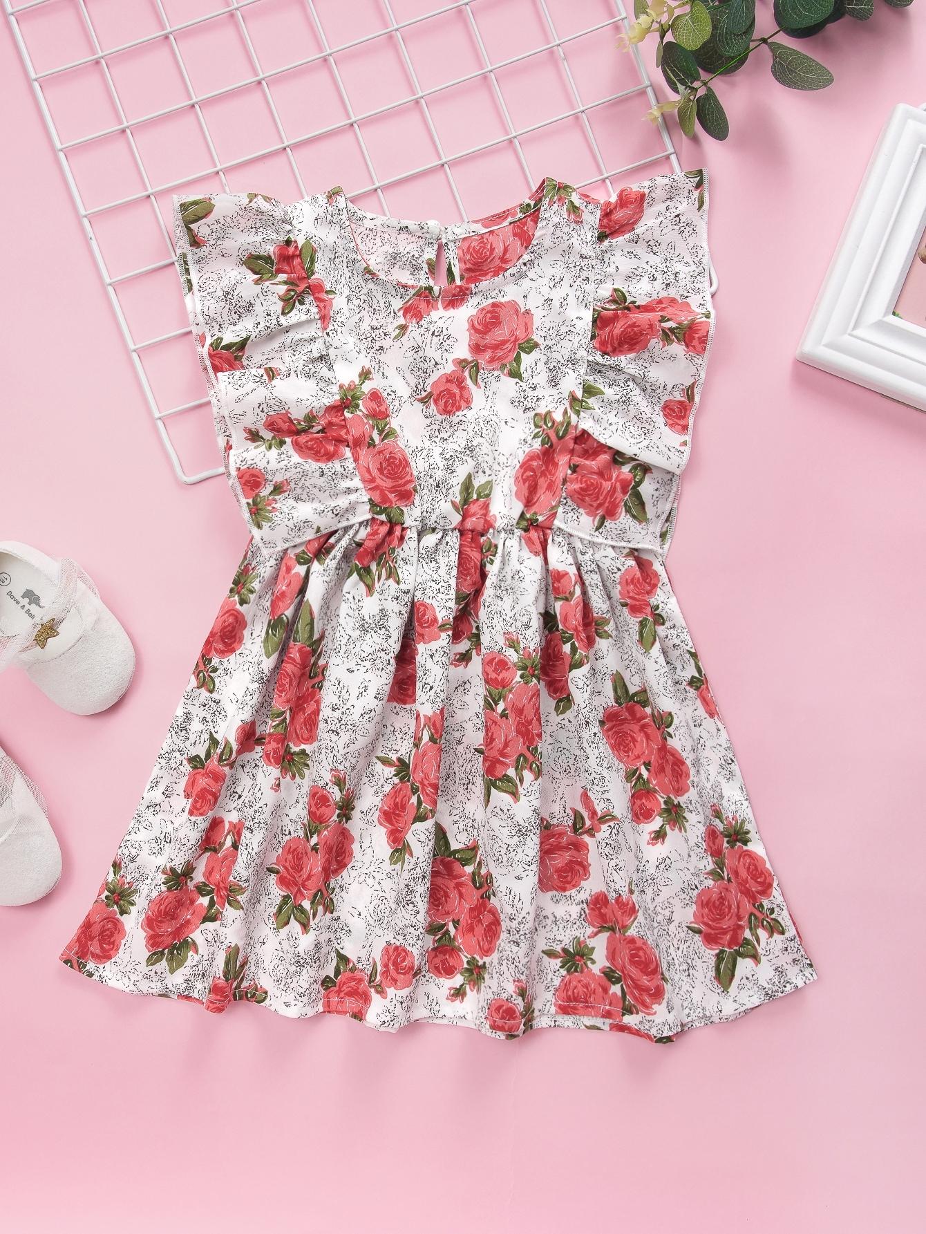 Фото - Расклешенное платье с цветочным принтом для девочек от SheIn цвет многоцветный