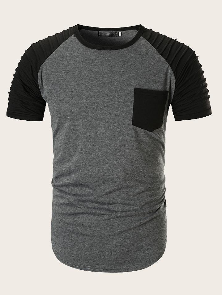 Фото - Мужская бейсбольная футболка с контрастными рукавами от SheIn серого цвета