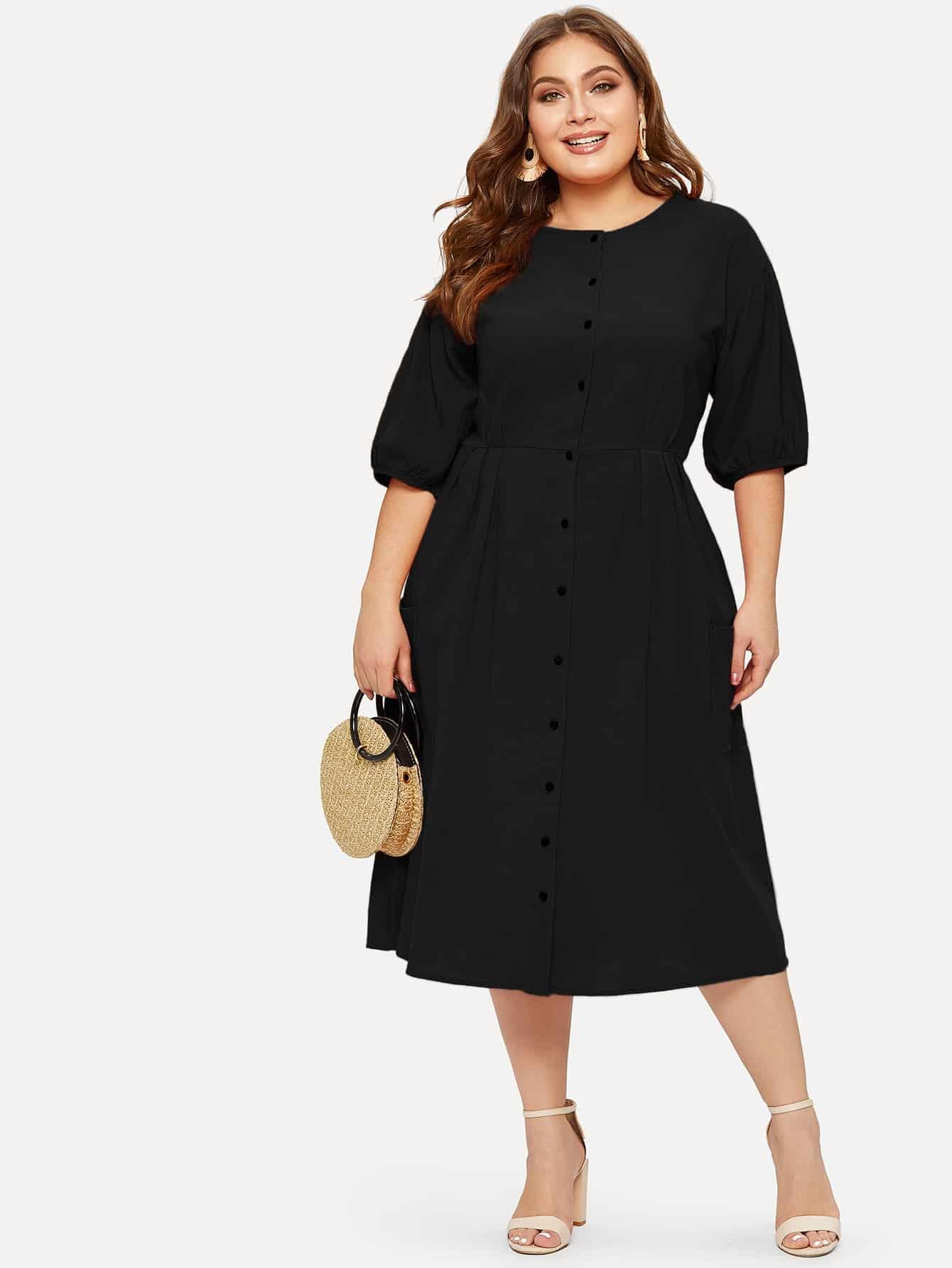 Фото - Платье-рубашка размера плюс с пуговицами от SheIn цвет чёрные
